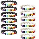LOYALLOOK 12PCS Lava Stone Bracelet Mens Chakras Bead Bracelet Natural Stone Oil Diffuser Bracelet for Men Women Yoga Prayer Bracelet