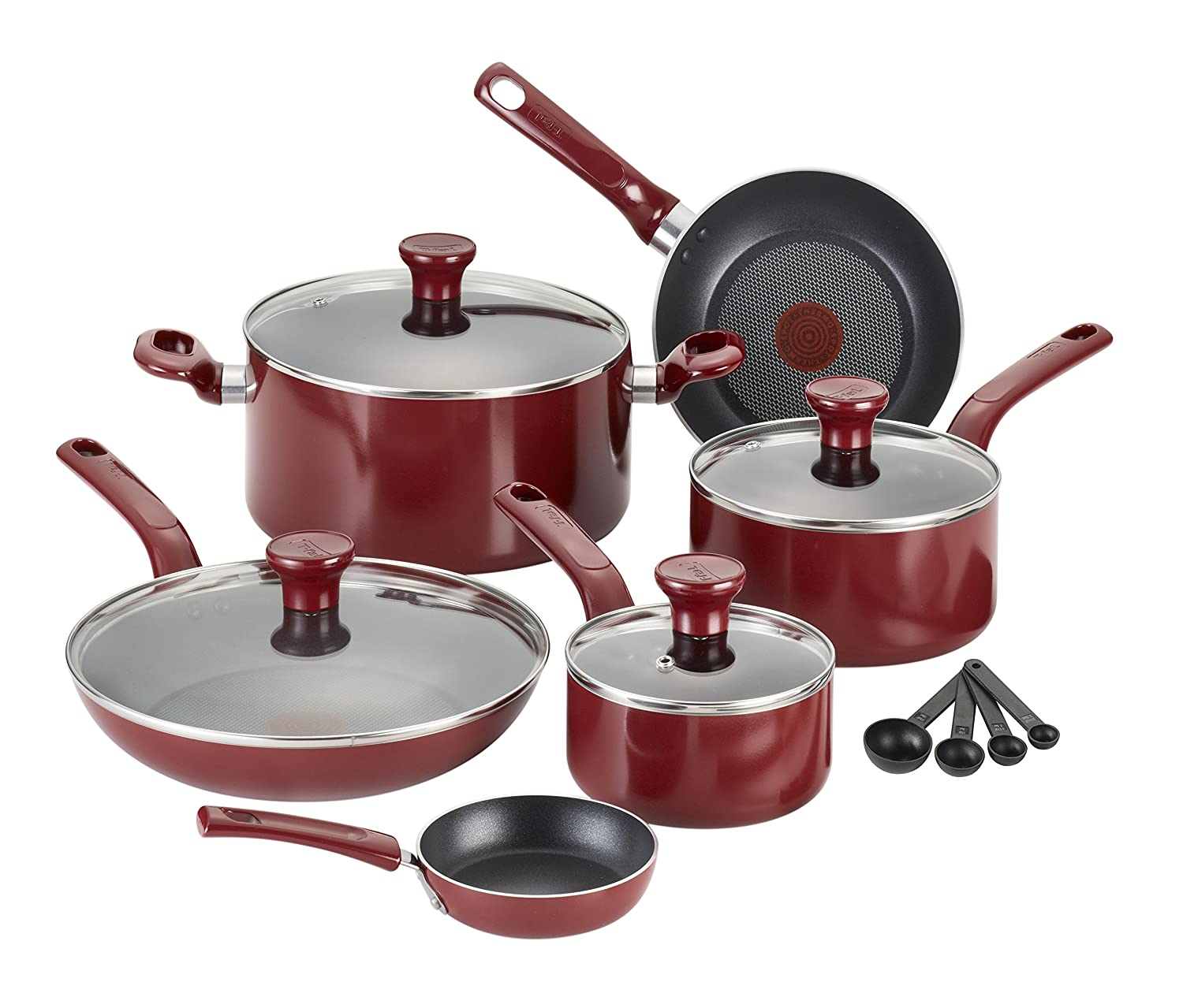 T-fal C912SE / C514SE Excite Nonstick Thermo-Spot Dishwasher Safe Oven Safe PFOA Free Cookware Set, 14.5-Piece, Red