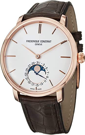Frederique Constant Men's FC705V4S4 Slim Line Analog Display Swiss Automatic Brown Watch