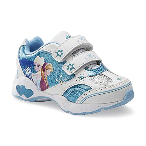 Disney-Frozen-Toddler-Elsa-Anna-Sneakers-Light-Up-Lights-Athletic-Kids-Shoes-Blue-White