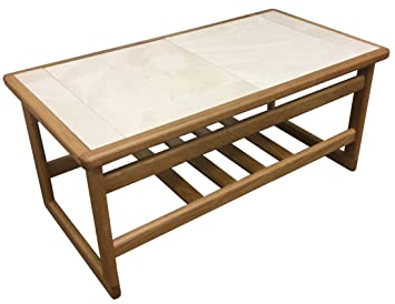 AnBerCraft Lacquered Traditional Range Oyster Tile Top Coffee Table, Wood, Natural Oak, Small