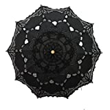 Handmade Black Lace Parasol Umbrella Wedding Bridal 30 Inch Adult Size (Color: Black, Tamaño: size: 26