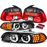 For BMW E39 5-Series Pair of Black Housing 3D Halo Projector + LED Turn Signal + Smoked Lens Tail Lights (Color: Smoked)