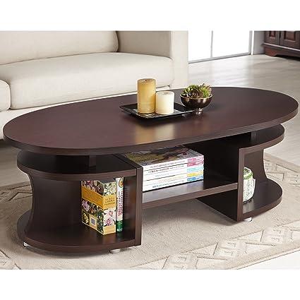 Metro Shop Furniture of America Modern Elliptical Multi-Shelf Walnut Coffee Table