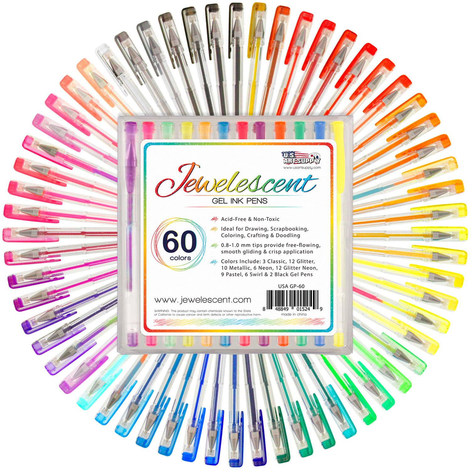 US Art Supply® Jewelescent® 60 Color Gel Pen Set - Professional Artist Quality S Gel Ink Pens in Vibrant Colors - Classic, Glitter, Metallic, Neon, Pastel & Swirl Colors - 100% Satisfaction Guarantee