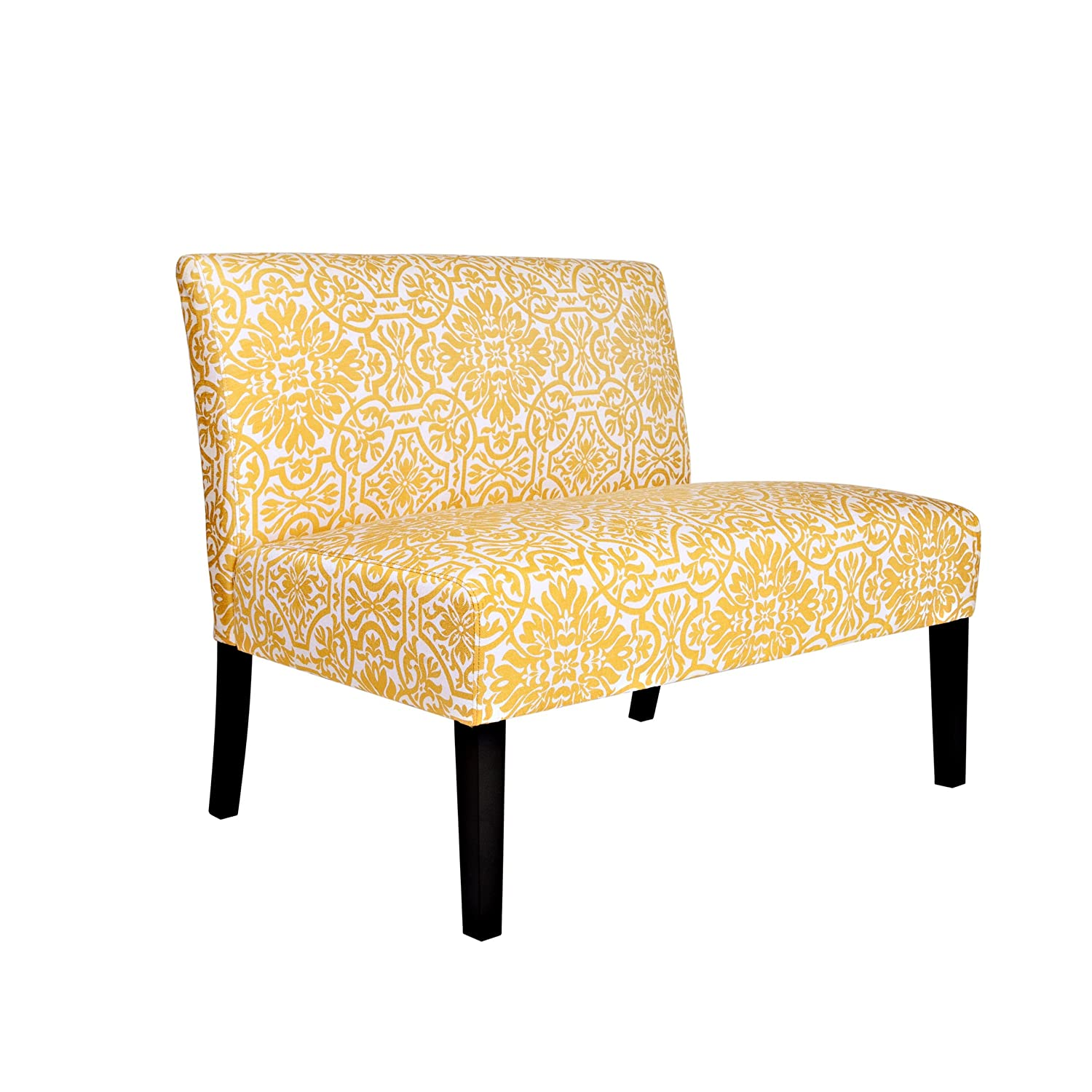 angelo:HOME Bradstreet Modern Damask Settee - Golden Yellow and Cream