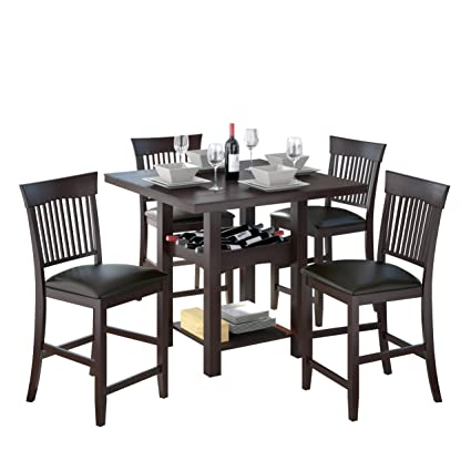 CorLiving DKR-308-Z1 5-Piece Tall Leather Dining Set with Wine Rack, Chocolate Black