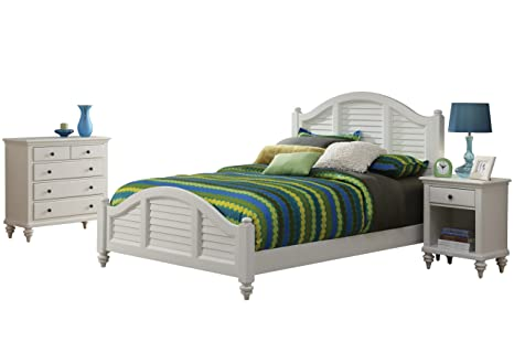 Home Styles Bermuda Queen Bed/Night Stand and Stand, White Finish