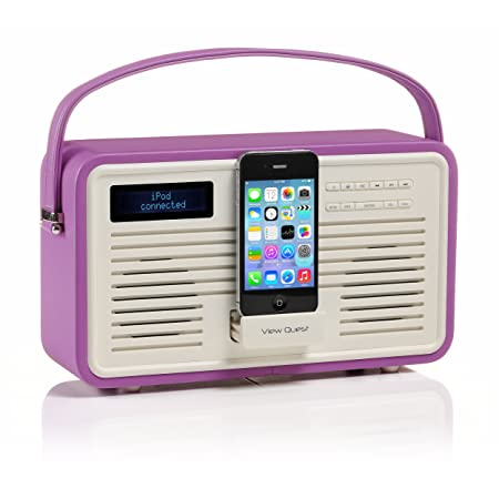 View Quest Retro DAB+ FM Radio 30-Pin iPhone Docking Station Radiant Orchid
