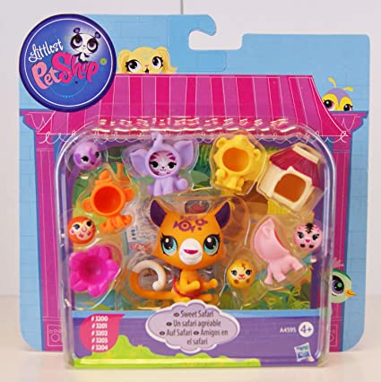 Littlest PetShop - A4595 - Sweet Safari / Un Safari agéable - Jaguar #3200, amis-bille singe #3201, amis-bille zèbre #3202, amis-bille éléphant #3203 & amis-bille lion #3203 - incl. accessoires