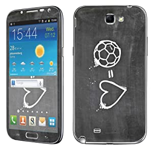 Samsung [Galaxy Note 2] Skin [NakedShield] Scratch Guard Vinyl Skin Decal [Full Body Edge] [Matching WallPaper] - [Soccer Heart] for Samsung Galaxy [Note 2]