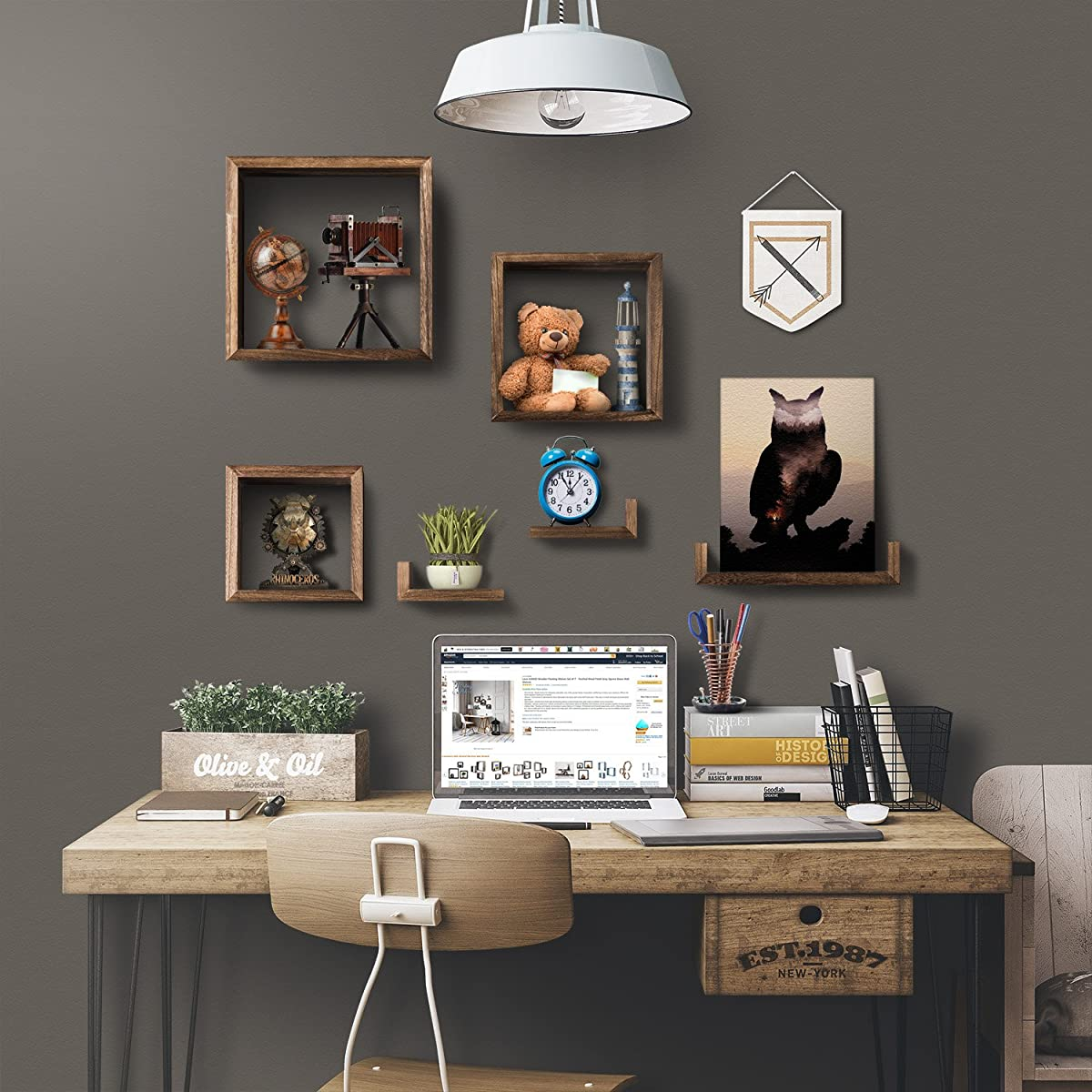 Love-KANKEI Wooden Floating Shelves Set of 7 - Torched Wood Finish Grey Square Boxes Wall Shelves