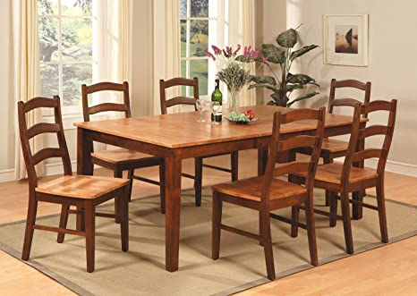 East West Furniture HENL7-BRN-W 7-Piece Dining Table Set