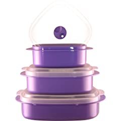 Calypso Basics 6-Piece Microwave Cookware/Storage Set, Purple