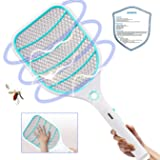Bug Zapper Racket,Electric Fly Swatter,Fly Killer and Mosquito Swatter - USB Rechargeable - 3000 Volt - Bright LED Light - Unique 3-Layer Safety Mesh Safe(Blue) (Color: Blue, Tamaño: Large)