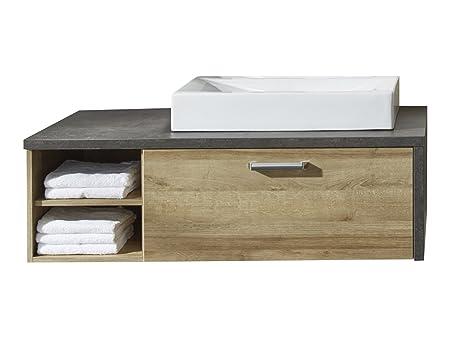 Furnline Under Sink Cabinet with Wash Basin, Wood, Brown, 123 x 39 x 53 cm