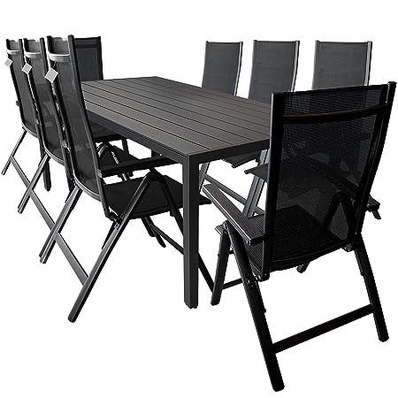 Wohaga® 9-teilige Gartengarnitur Sitzgarnitur, Alu / Polywood Gartentisch 205x90cm + 8x Positionsstuhl mit 4x4 Textilenbespannung und Polywood Armlehnen - Schwarz / Terrassenmöbel Gartenmöbel Sitzgruppe