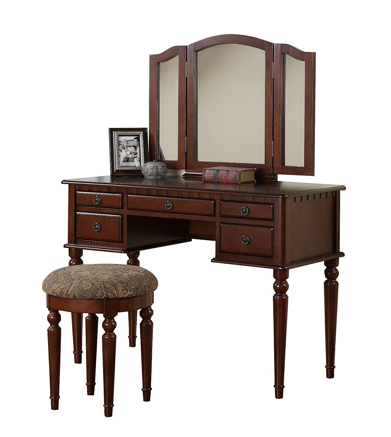 New 3 panel mirror vanity makeup table wood jewelry desk with stool free ship ebay - Stool for vanity table ...