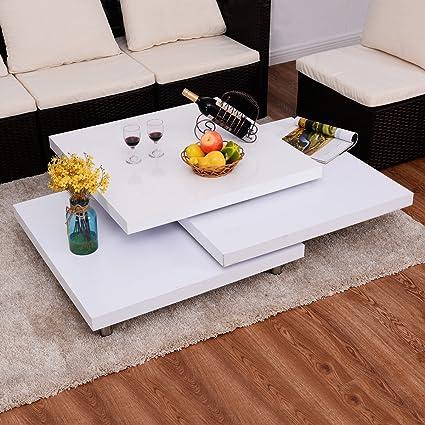 Costway Couchtisch Wohnzimmertisch Salontisch Sofatisch Kaffeetisch Clubtisch Hochglanz weiß drehbar