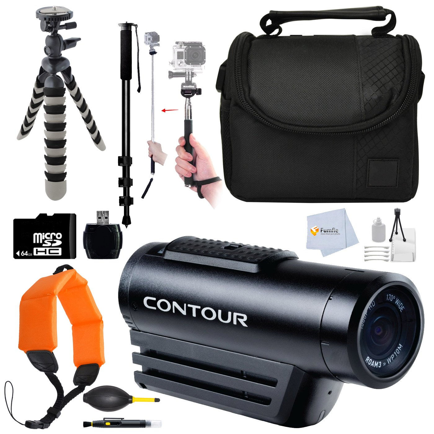 "Contour ROAM3 Waterproof HD Video Camera (Black) + 64Gb Memory Card + Reader + 72"" Monopod + Flexible Gripster Tripod & more"