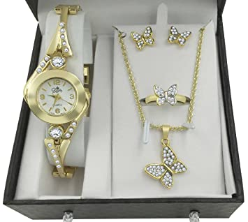 Amazon.com : New! Gold Butterfly Watch & Jewelry Gift Set For Her ...