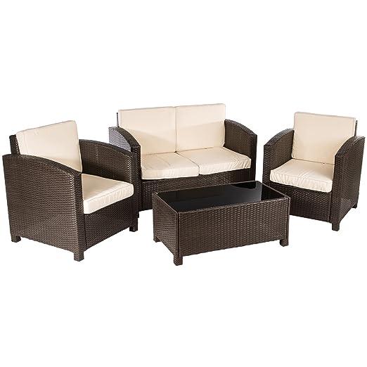 Ultranatura Set Lounge in polyrattan della serie Palma da 5 pezzi / tavolo + 4 poltroncine incl. cuscini
