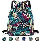 WANDF Drawstring Backpack String Bag Sackpack Cinch Water Resistant Nylon for Gym Shopping Sport Yoga (Blue Leaf 6032) (Color: B-Blue Leaf 6032, Tamaño: Medium)