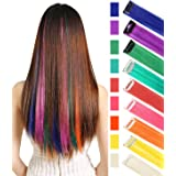 Rhyme CCW 9PCS Wig Pieces America Girls Dolls Clip in/On Colored Hair Extensions(Rainbow Color) (Color: Rainbow Color)
