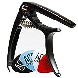 Guitar Capo with Guitar Picks for 6 or 12 String Acoustic and Electric Guitars - Capo for Acoustic Guitar - Premium Guitar Accessories Bundle - No Fret Buzz - Aluminum (Color: Black)