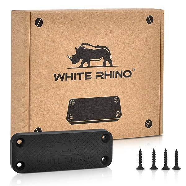 WHITE RHINO Gun Magnet Mount - Complete Kit Includes 4 Screws and Double Sided Tape Rubber Coated 35 lb Rating Magnetic Gun Holder for Truck, Car, Holster, Handgun, Rifle, Pistol, Revolver, Magazine (Color: Black)