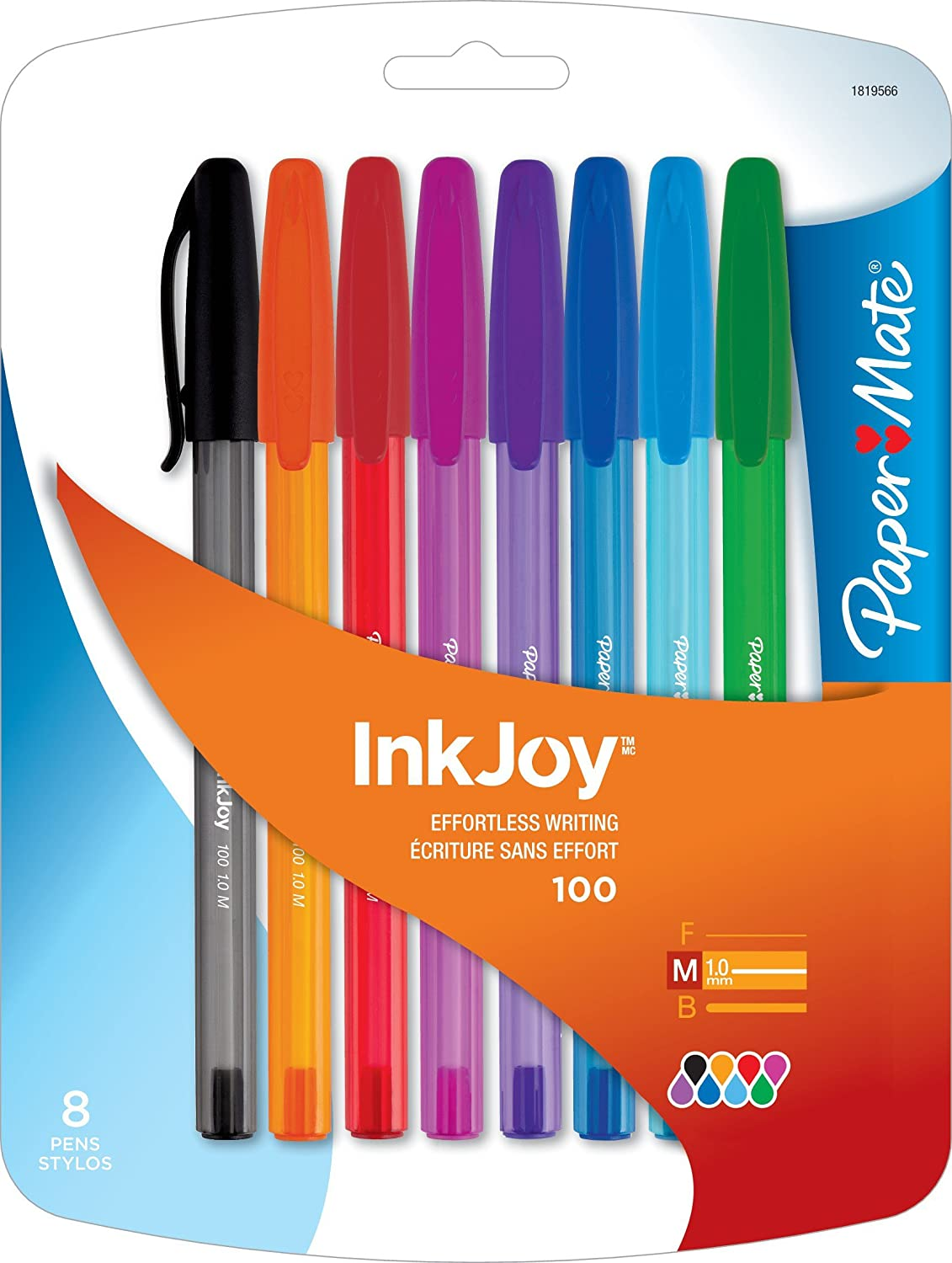 Paper Mate InkJoy 100ST Ballpoint Pen, Medium, Fashion Colors, Set of 8 (1819566)