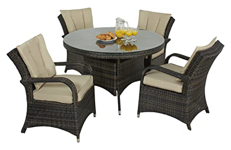 Maze Rattan Round 4 Seat Texas Dining Set with 120 cm Table in a Weave- Mixed Brown