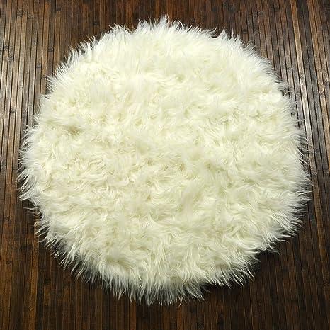 debonsol tapis shaggy floky floky rond blanc cuisine maison m440. Black Bedroom Furniture Sets. Home Design Ideas