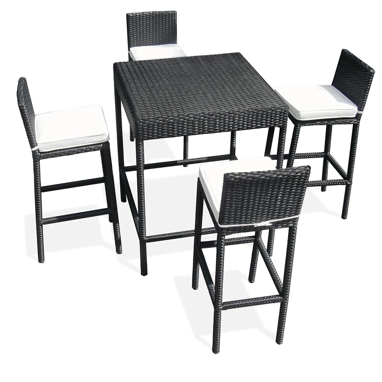 Polyrattan Garten Bar,Stehtisch, Bistrotisch,Terassenmöbel, Gartenmöbel Set, Tisch und 4 Barhocker mit Rückenlehne und Sitzkissen