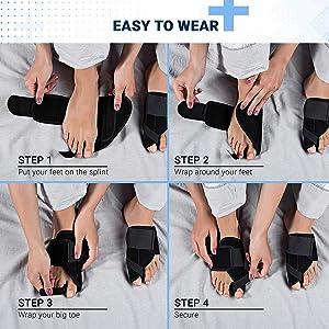 Bunion Corrector and Bunion Relief - Orthopedic Big Toe Straightener - Elastic and Adjustable Bunion Splint - Turf Toe Brace Effective Hallux Valgus Treatment for Women and Men (Color: Black, Tamaño: BrisonStrap-91)
