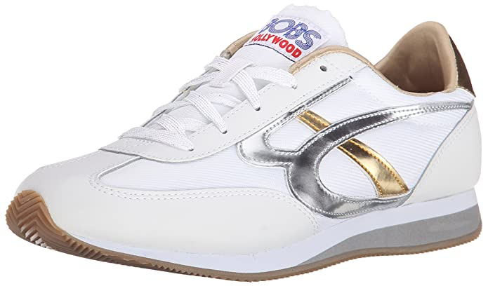 BOBS from Skechers Women's Sunset Fashion Sneaker, White/Silver/Gold, 7 M US