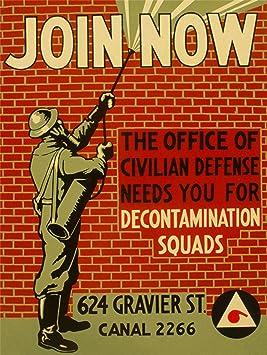 WWII USA CIVILIAN DECONTAMINATION SQUAD ENLIST 30x40 cms ART POSTER PRINT PICTURE CC6816