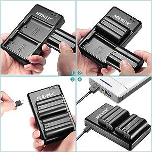 Neewer EN-EL15 EN-EL15A Battery Charger Set for Nikon d750, d7500, d850, d800 and More(2-Pack, Micro USB Input Charger, Versatile Charging Option, 2100mAh)-Black