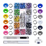 Grommet Kit,MEZOOM 480 Sets 3/16 Inch Multi-Color Grommet Setting Tool Metal Eyelets Kit with Transparent Storage Box for Bag Shoe Clothes Leather Crafts DIY Projects(12 Colors) (Color: 12 colors)