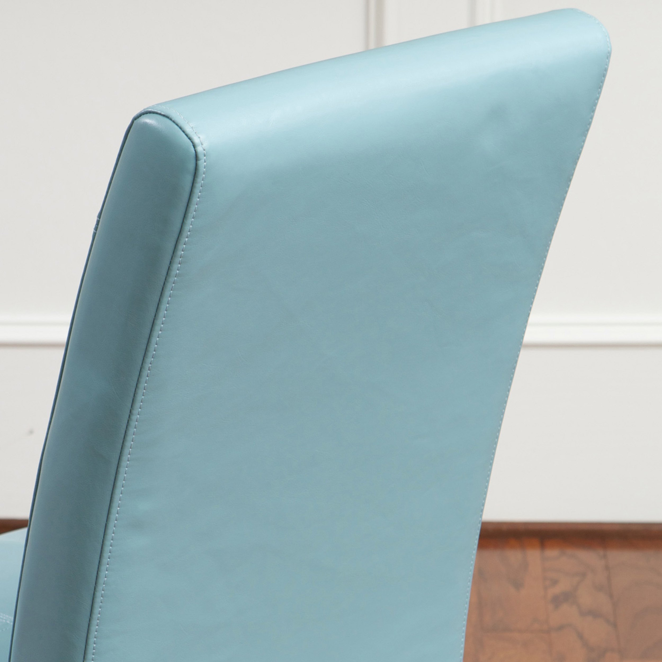 Emilia Teal Blue Leather Dining Chair Set of 2 FurnitureNdecor