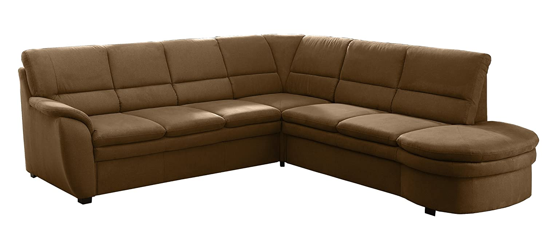 Polsterecke Gingle/3er Bett-Spitzecke mit Relaxfunktion-2er Abschlussottomane mit Schubkasten/260x89x240 cm/Toro braun