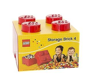 Plast Team PT40030 - Caja en forma de bloque de lego 4, color rojo [importado de Alemania]   revisión y más información