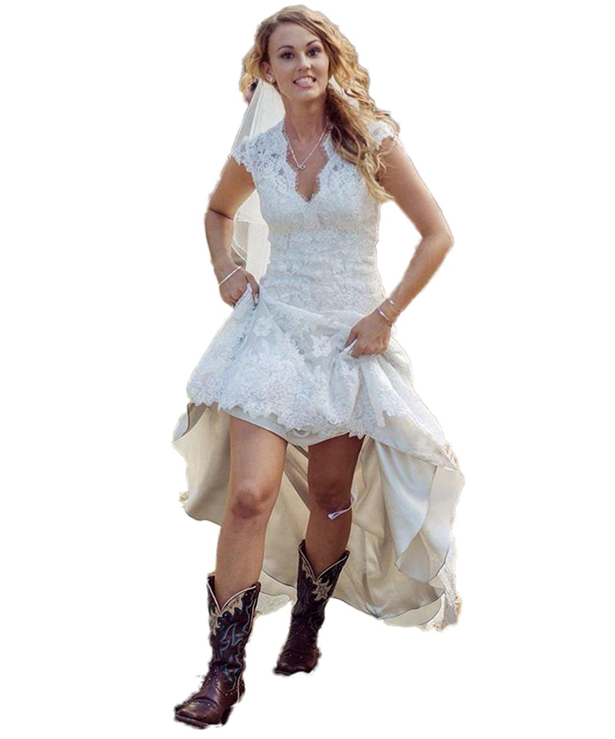CustomDress Vintage High Low Wedding Dress V-Neck Capped