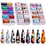 30 Color Nail Foil Transfer Sticker, Kissbuty Holographic Flower Nail Art Stickers Tips Wraps Foil Transfer Adhesive Glitters Acrylic DIY Nail Decoration, 3 Boxes (Flowers and Glitters) (Color: Flowers and Glitters)