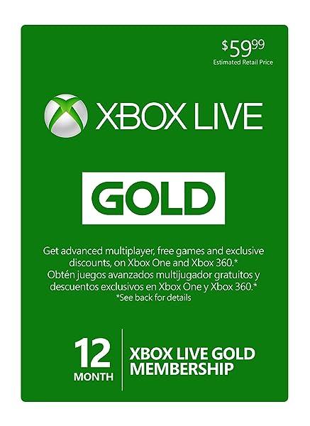 Membresía Gold suscripción de 12 meses de  Microsoft Xbox LIVE