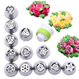 12 Piece Stainless Steel Flower Russian Icing Piping Nozzles Tips (Color: Silver, Tamaño: 12pcsLarge)