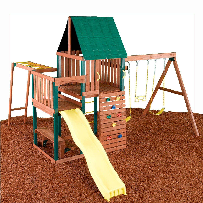 Swing - N - Slide Chesapeake Wood Complete Ready - To Assemble Swing Set Kit: