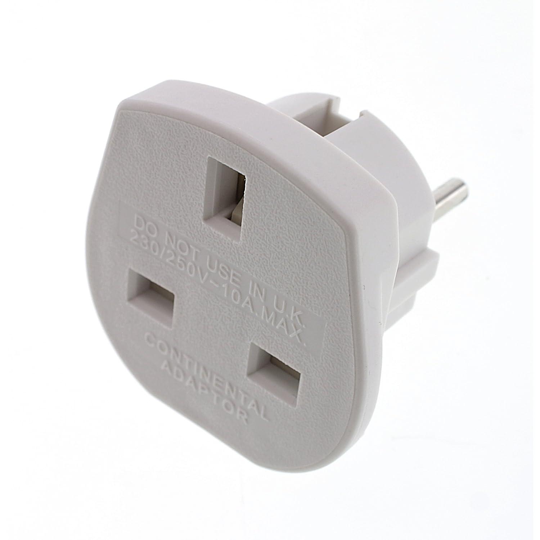 Kit UK 3 Pin to Euro 2 Pin Mains Adaptor - White
