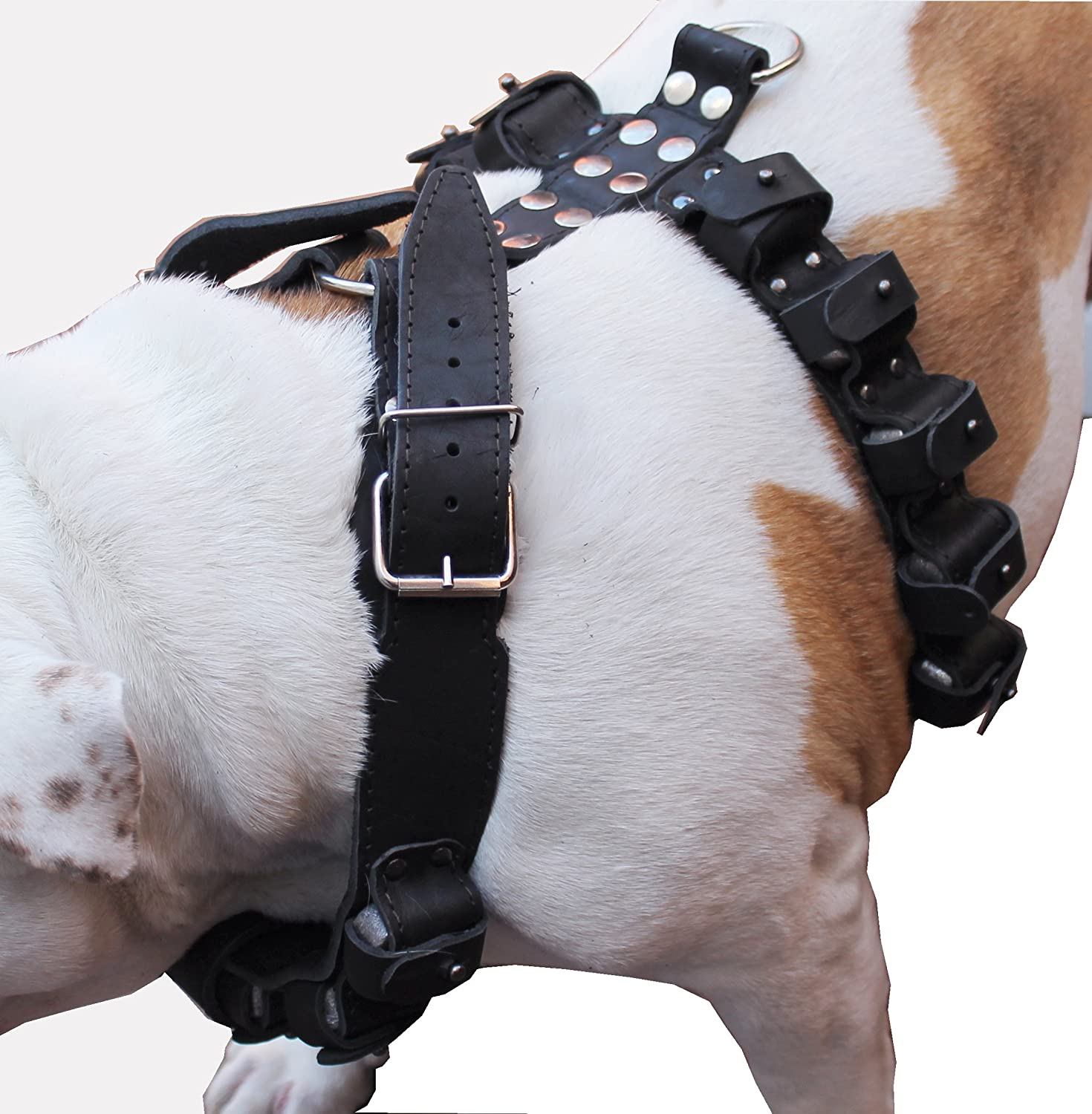 7 lbs Genuine Black Leather Weighted Dog Harness for Exercise and Training. Fits 35-40 Chest