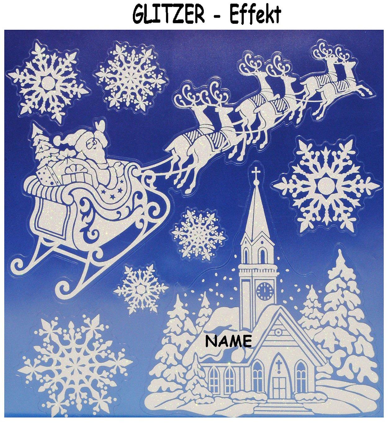 """3 versch. Bögen: Fensterbilder – """" GLITTER / GLITZER – Weihnachten & Winterzeit """" – incl. Name – statisch haftend – Schneekristall / Schnee / Flocken – selbstklebend + wiederverwendbar / Sticker Fenstersticker – groß – Aufkleber – blau / weiß – Fensterbild – z.B. für Fenster und Spiegel – Fensterdeko Fensterfolie Kinderzimmer Deko bestellen"""